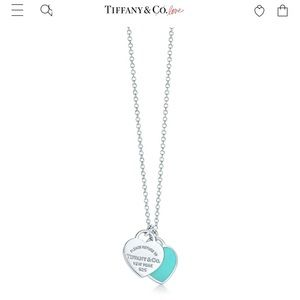 Tiffany double heart tag pendant NEVER WORN